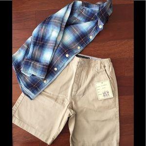 NWT e land kids boys chino shorts and shirt.